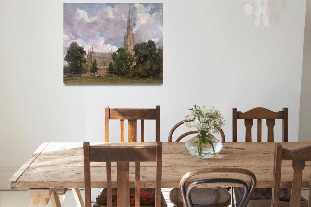 """""""Salisbury Cathedral from the south west""""  by fineartmasters"""