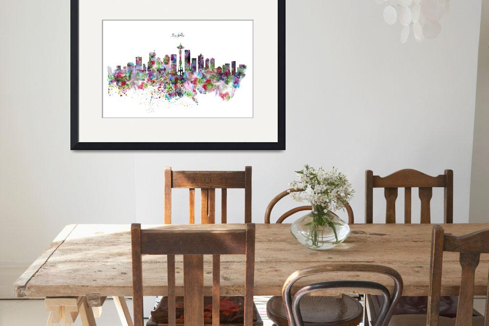 """""""Seattle Skyline Silhouette&quot  (2015) by MarianVoicu"""
