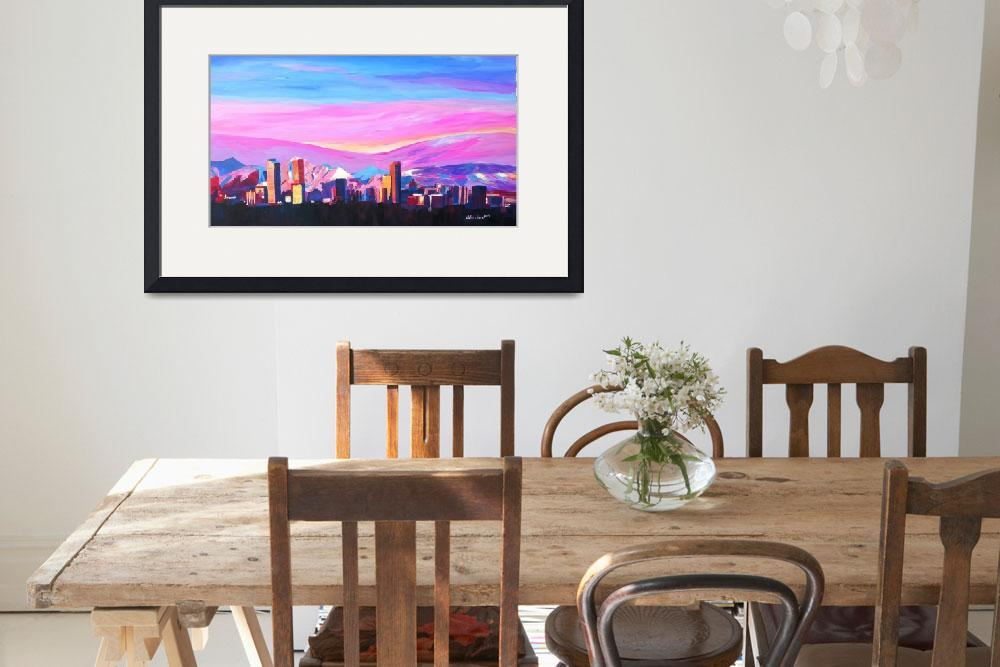 """Denver Colorado Skyline with luminous Rocky Mounta&quot  (2014) by arthop77"