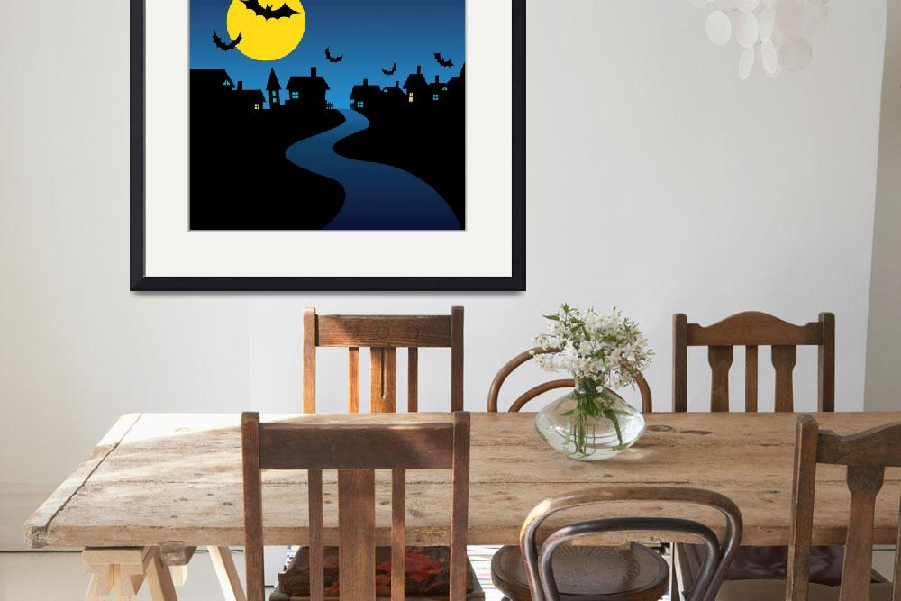 """""""Bats Flying Full Moon Halloween Night&quot  (2015) by AnswersFound"""