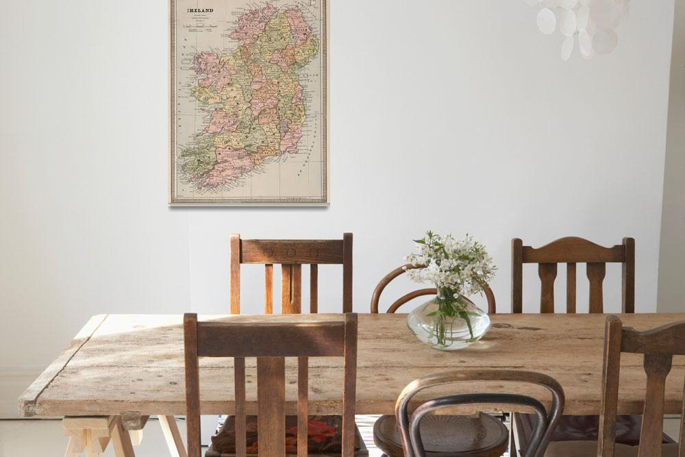 """""""Vintage Map of Ireland (1883)&quot  by Alleycatshirts"""