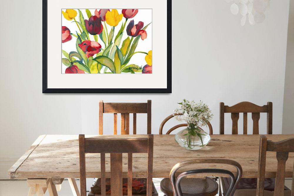 """""""Red & Yellow Tulips&quot  by janporterfieldwatercolors"""