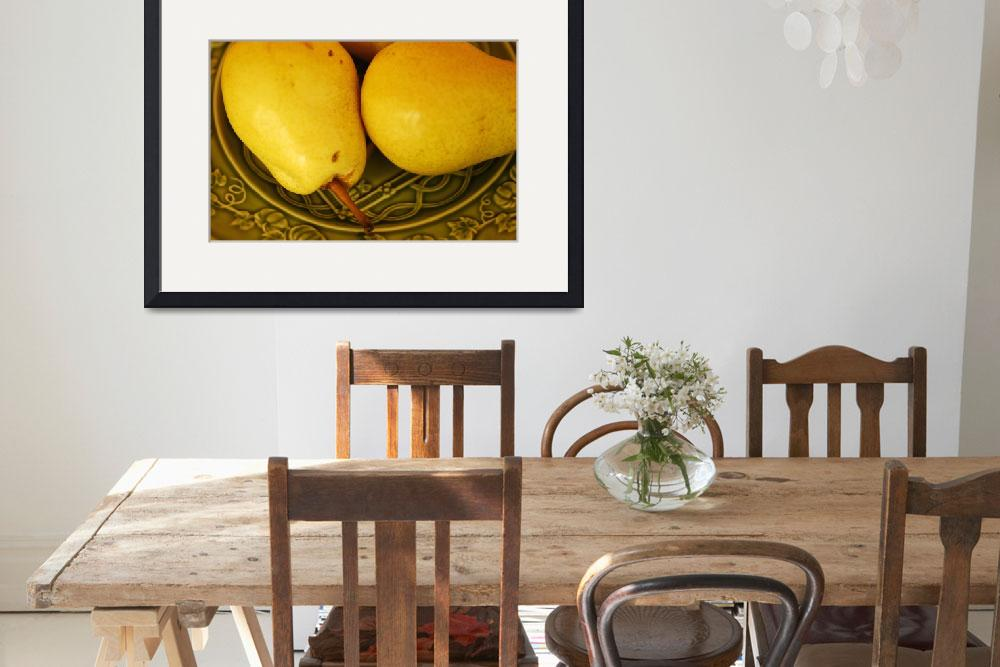 """""""Two Ripe Pears on a Green Plate_4783&quot  (2004) by AmbientCreations"""