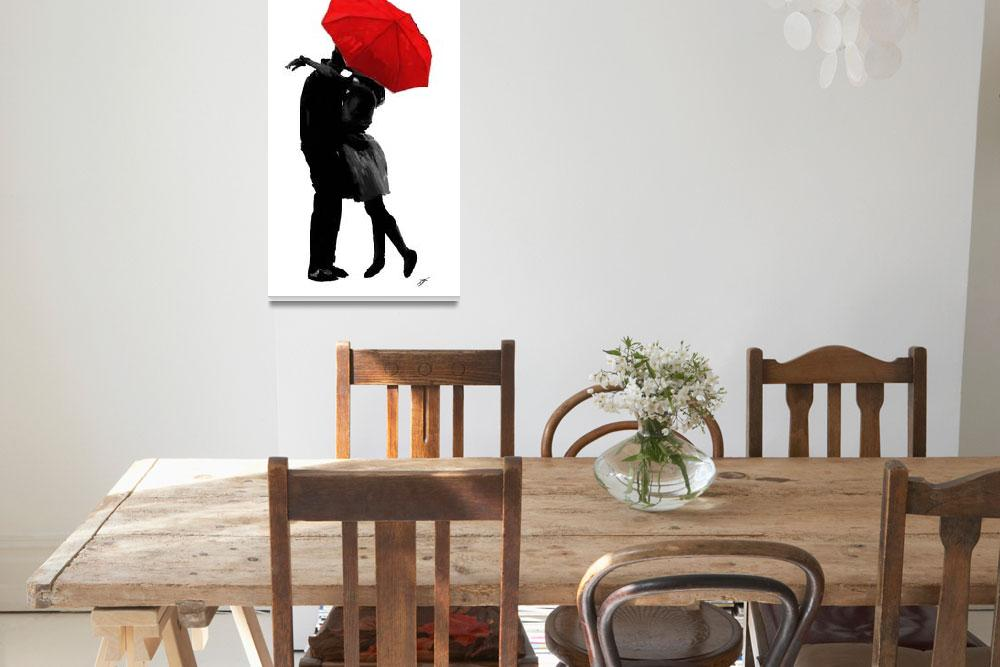 """""""Kissing Under the Red Umbrella&quot  (2011) by TranscendingArt"""