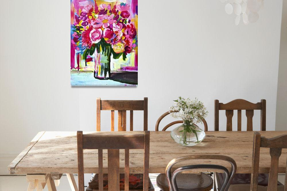 """""""Bright Colorful Floral Bouquet in Vase&quot  (2013) by TheArtwerks"""