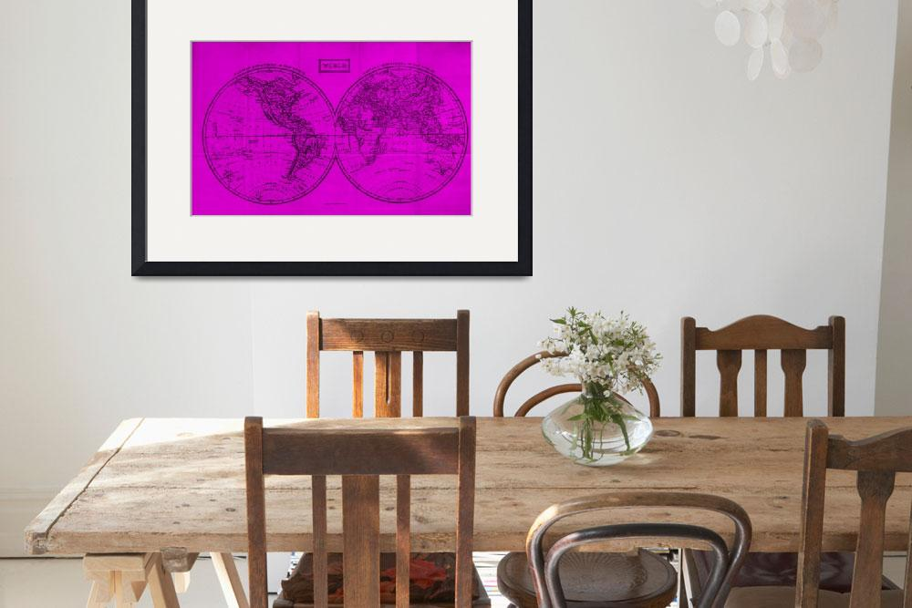 """Vintage Map of The World (1857) Pink & Black&quot  by Alleycatshirts"