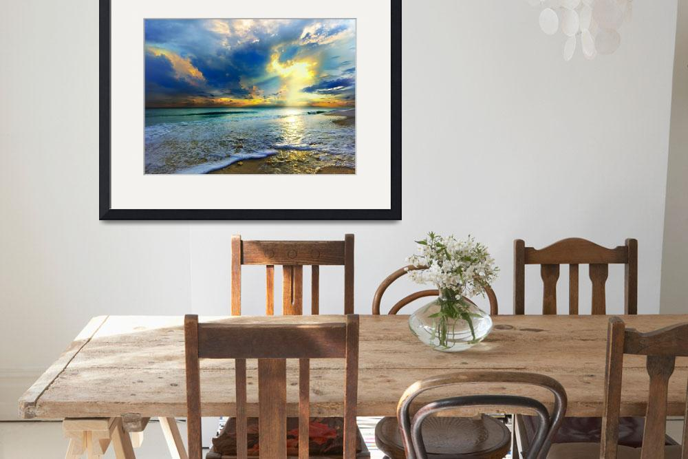 """Blue Seascape Art Print Gold Sunrays Sunset&quot  (2012) by eszra"