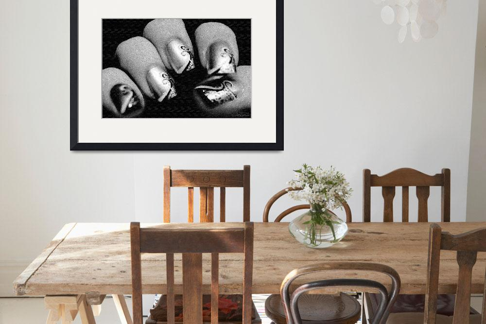 """Fashioned Finger Nails in Black and White Abatract&quot  (2012) by WallArtDeco"