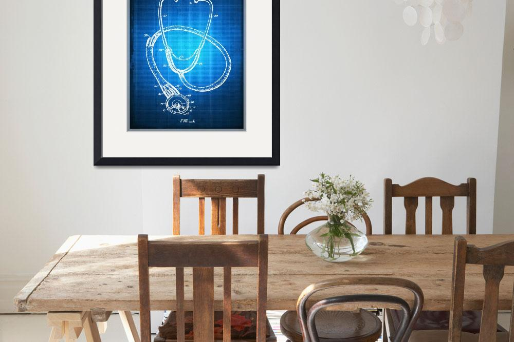 """""""Doctor Stethoscope 1 Patent Blueprint Drawing Sepi&quot  (2016) by RubinoFineArt"""
