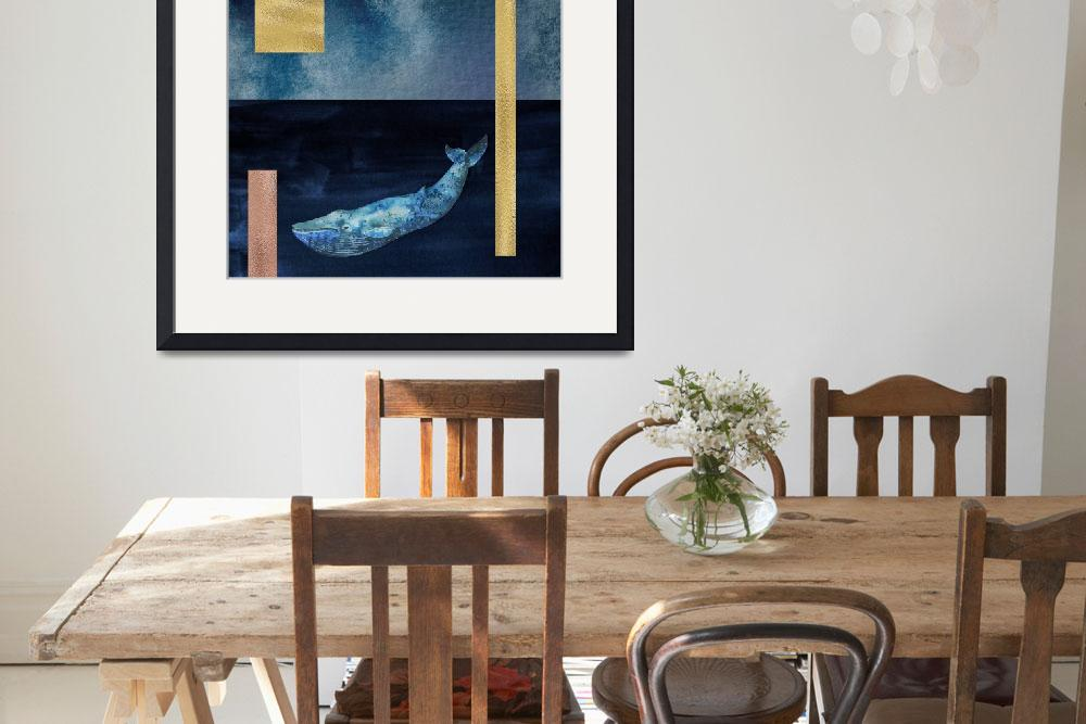 """""""Blue Whale: Gold, Copper And Deep Blue&quot  by fineartgallery"""