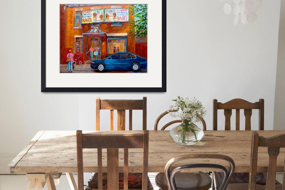 """PAINTINGS OF MONTREAL STREETS FAIRMOUNT BAGEL SHOP&quot  by carolespandau"