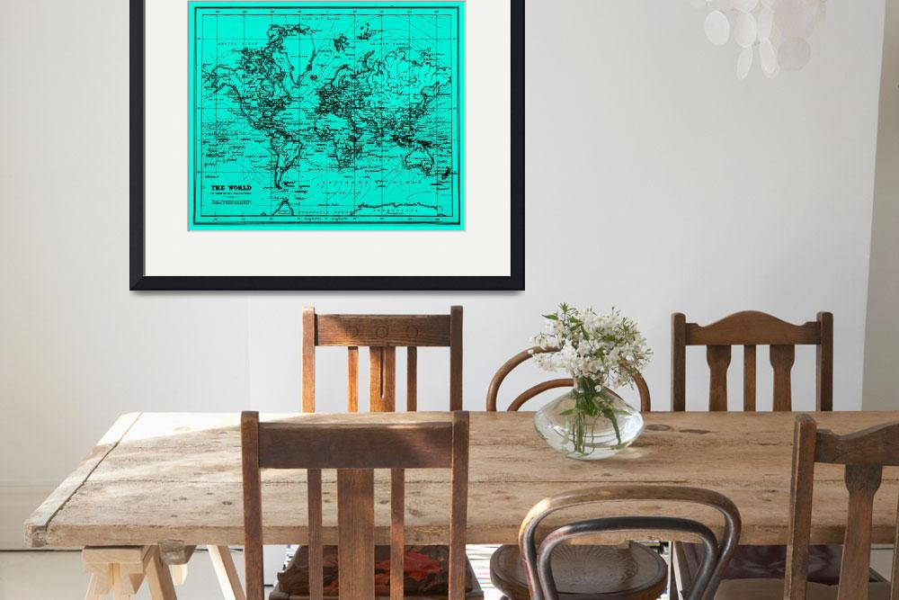 """World Map (1899) Light Blue & Black&quot  by Alleycatshirts"