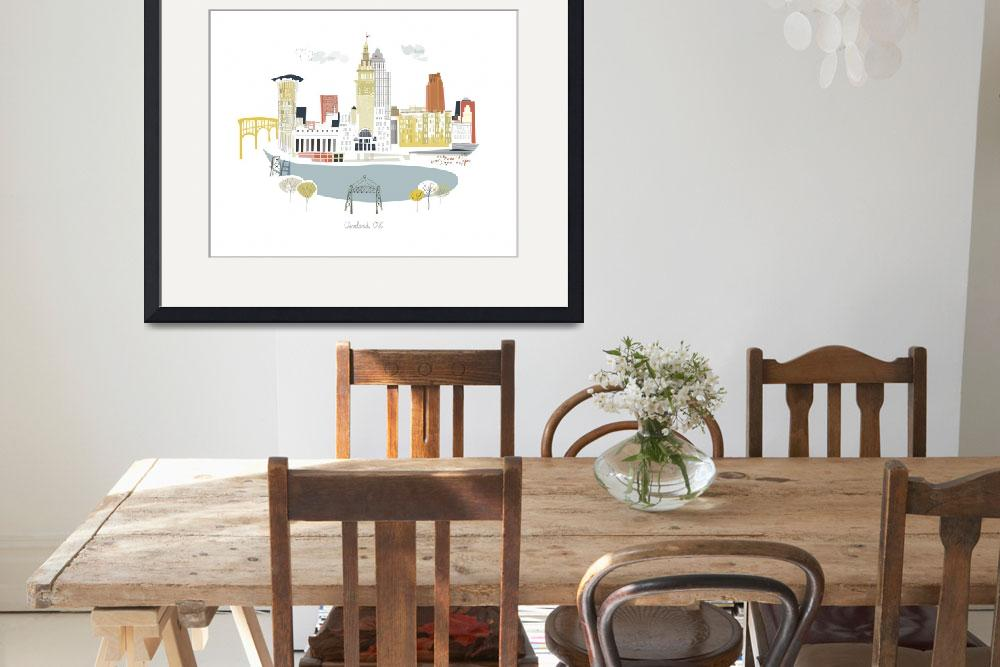 """""""Cleveland Modern Cityscape Illustration&quot  by AlbieDesigns"""