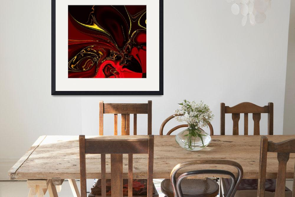 """""""Zizzago Art Abstract Red Gold Flame 4""""  (2009) by shanmaree"""