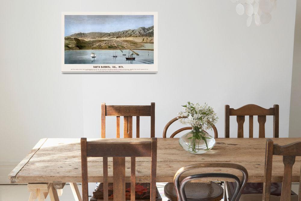 """Santa Barbara From the Ocean 1873&quot  by lookbackart"