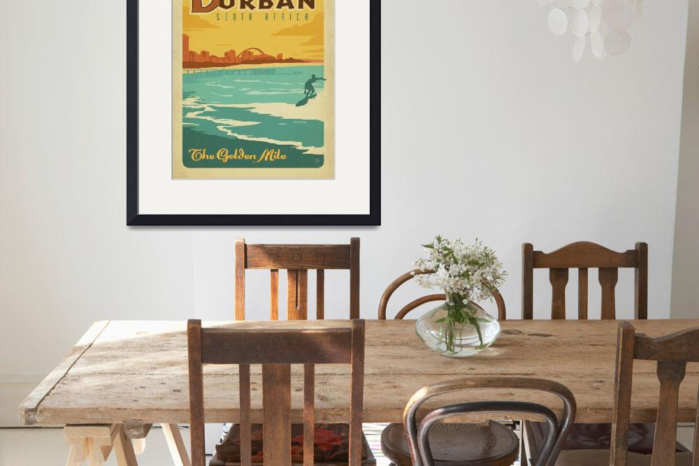 """""""The Golden Mile, Durban, South Africa - Retro Trav&quot  by artlicensing"""