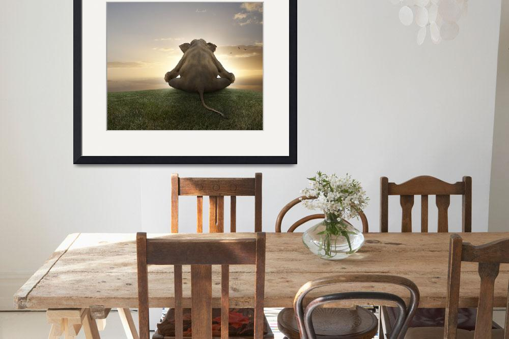 """""""Asian elephant in yoga lotus position meditating&quot  (2010) by StephanieDRoeser"""