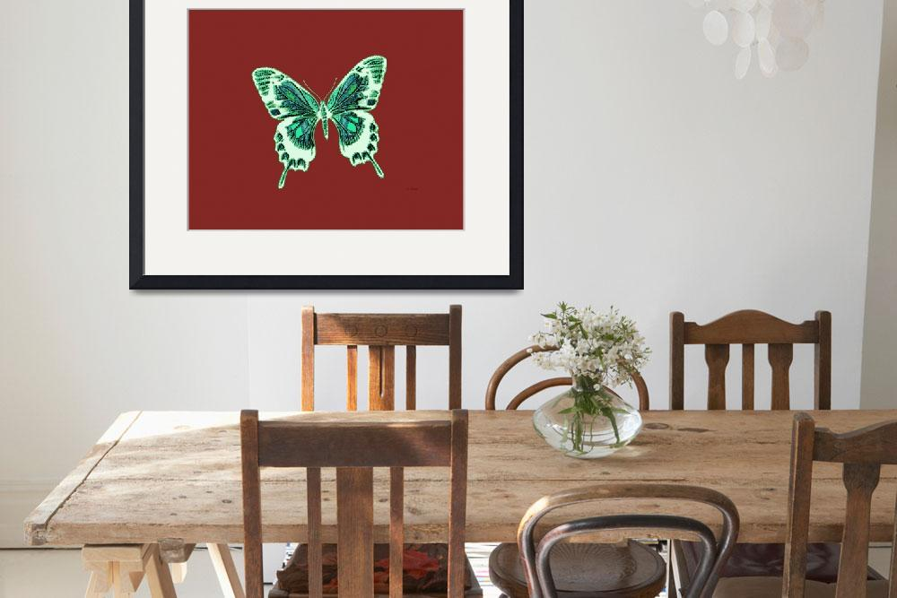 """Green Off White Butterfly Burnt Orange Background&quot  (2013) by TheNorthernTerritory"