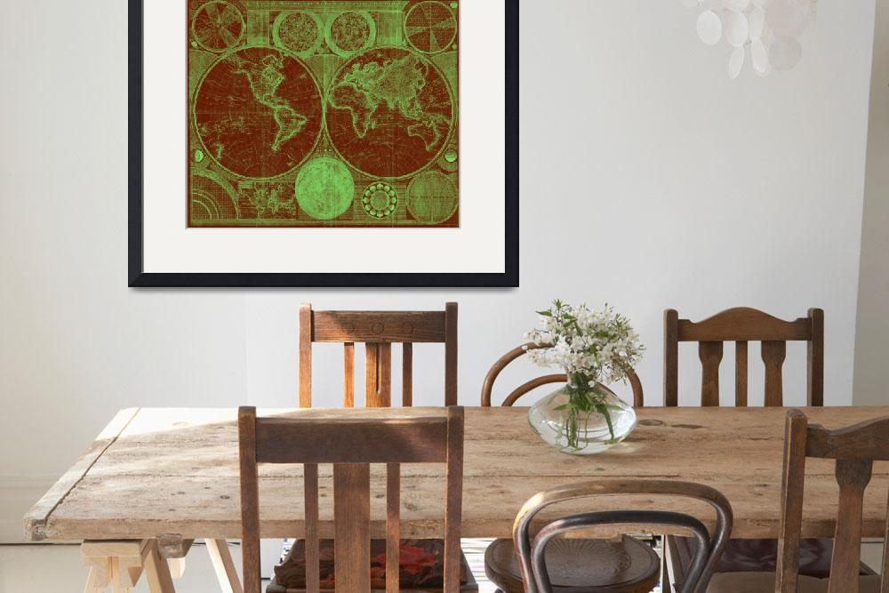 """World Map (1794) Red & Light Green&quot  by Alleycatshirts"
