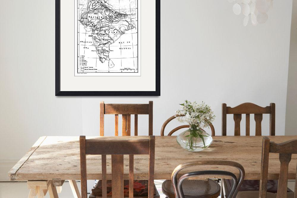 """""""Vintage Map of India (1823) BW&quot  by Alleycatshirts"""