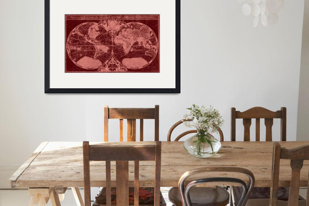 """World Map (1691) Red & Light Red&quot  by Alleycatshirts"