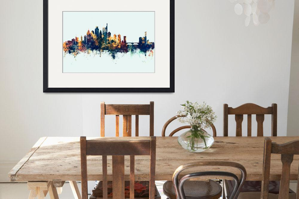 """Philadelphia Pennsylvania Skyline""  (2019) by ModernArtPrints"