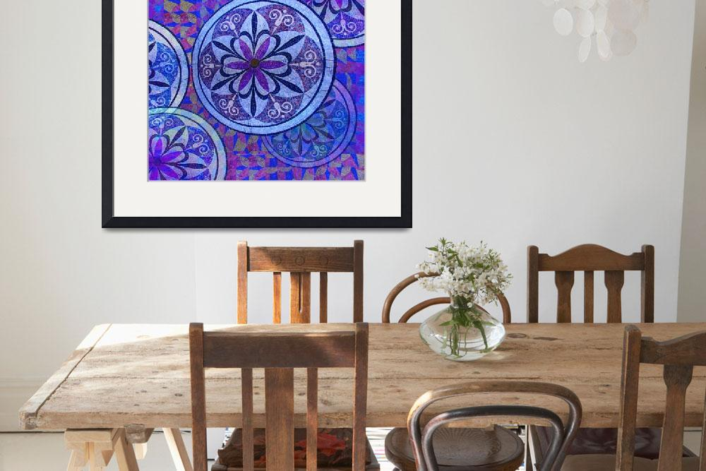 """""""Blue Mosaic Circles and Flowers&quot  (2018) by RubinoFineArt"""
