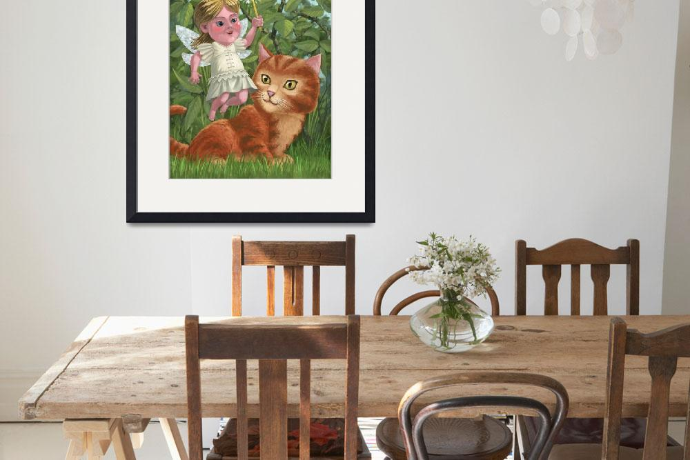 """""""kitten with girl fairy in garden&quot  (2010) by martindavey"""