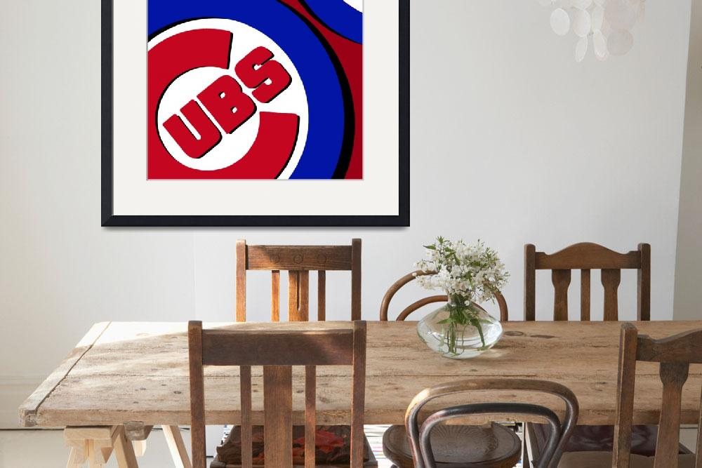 """Chicago Cubs Football&quot  (2016) by RubinoFineArt"