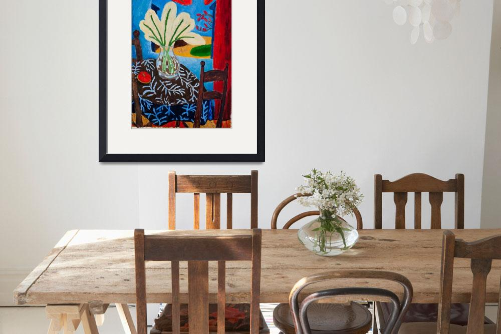 """""""Dining room with vase of flowers&quot  (2010) by InigoHicks"""
