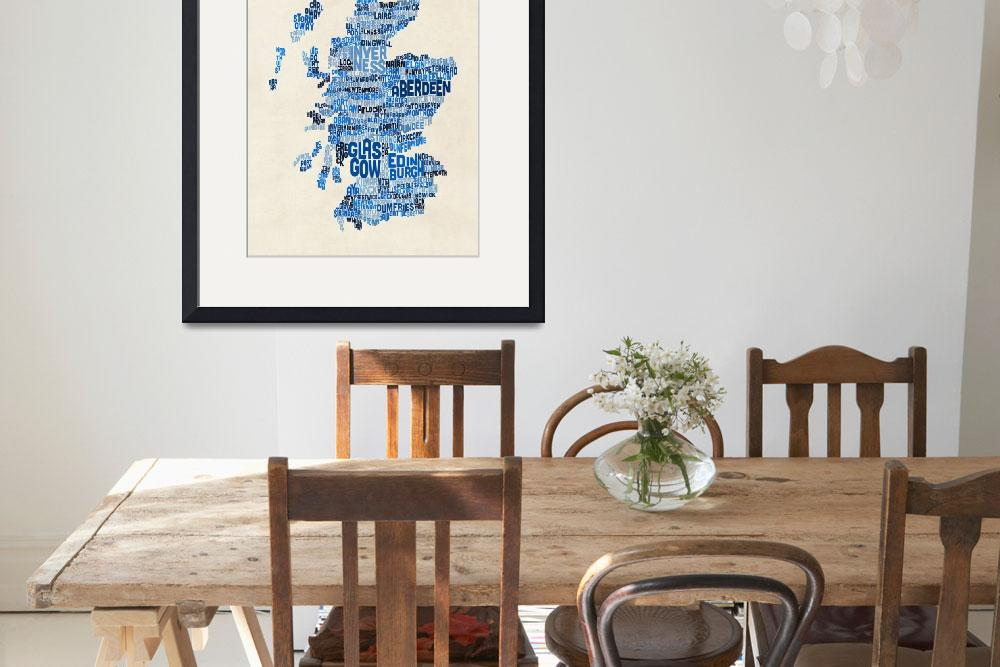 """Scotland Typography Text Map&quot  (2015) by ModernArtPrints"