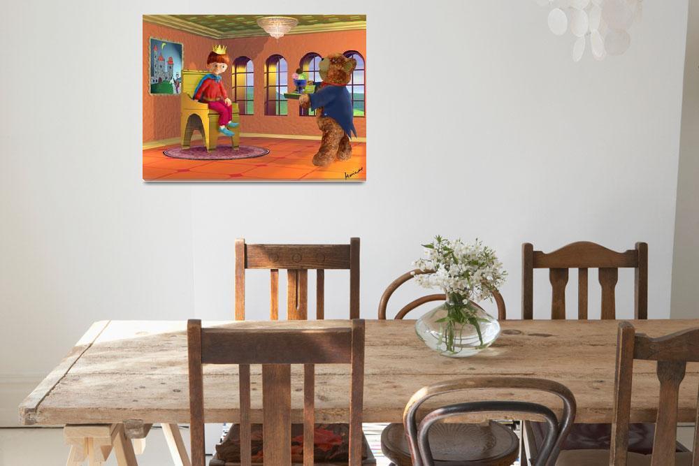 """orange,kids art,childrens room,boy,teddybear,red&quot  (2004) by MarianneIlevitzky"