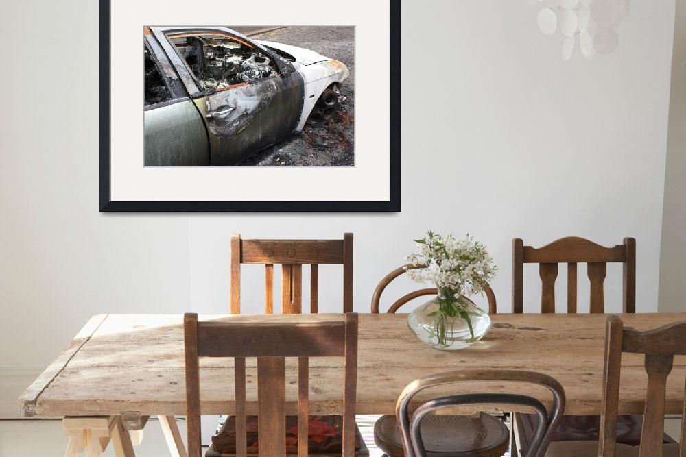 """Urban Art Print, Burnt out car, Digital&quot  (2013) by Blackinkphotography"