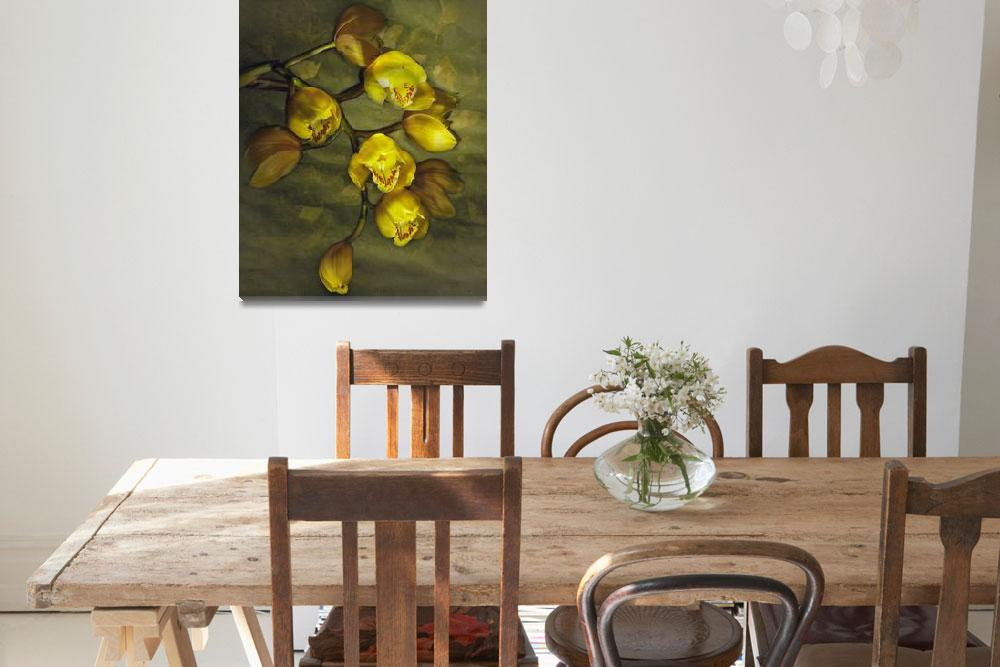 """Yellow Cymbidium Orchids""  (2008) by bobbretell"