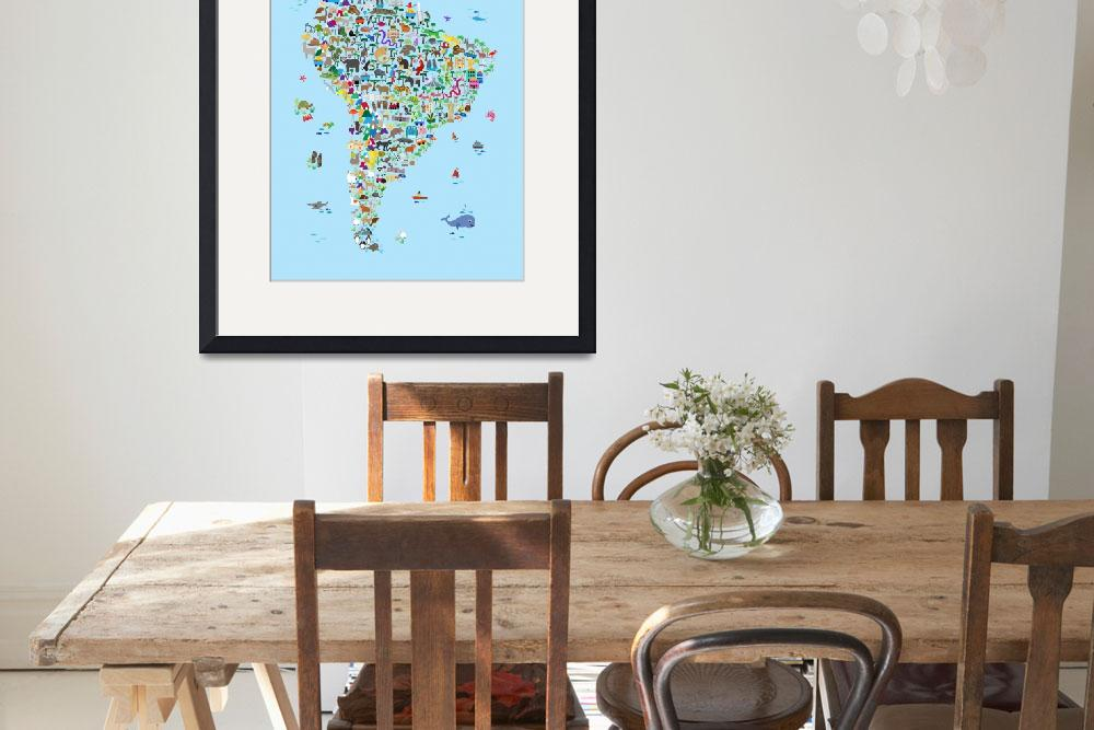 """""""Animal Map of South America for children and kids&quot  (2018) by ModernArtPrints"""
