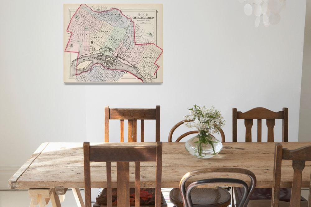 """Vintage Map of Richmond Virginia (1884)&quot  by Alleycatshirts"