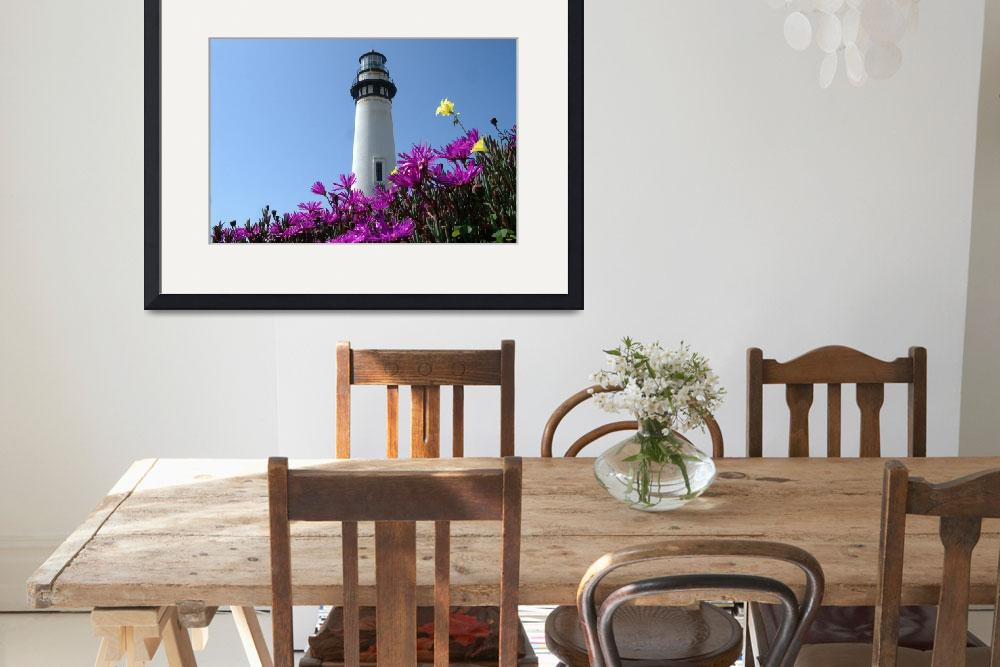 """Pigion Point Lighthouse Flowers&quot  (2004) by BobFikePhoto"