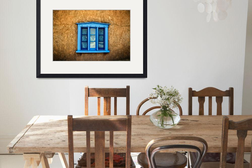 """Blue Deep-Seated Window On Adobe Wall, New Mexico&quot  by DesignPics"
