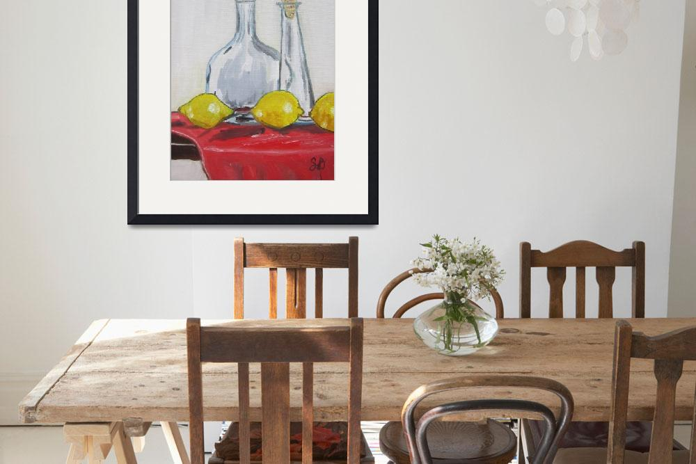 """Lemons, Glass, and Red Cloth, still life food and&quot  (2015) by artprintsgalore"