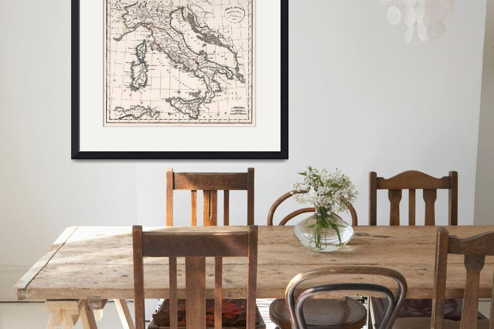 """""""Vintage Map of Italy (1825)""""  by Alleycatshirts"""