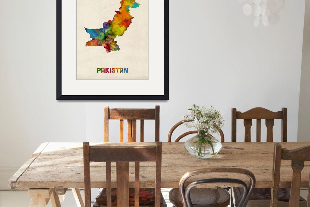"""Pakistan Watercolor Map""  (2014) by ModernArtPrints"