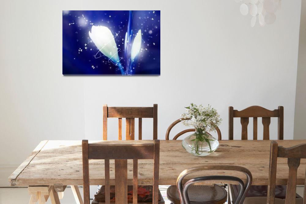 """""""Digital Art Sparkling Flowers - Blue""""  (2012) by NatalieKinnear"""