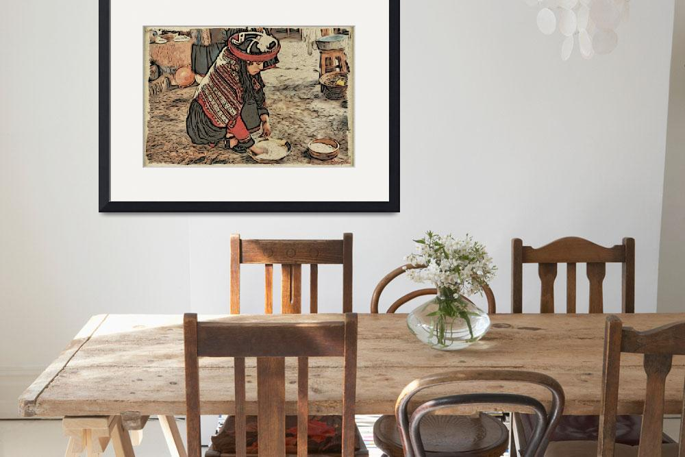 """""""Peruvian woman in traditional dress at work&quot  (2012) by WallArtDeco"""