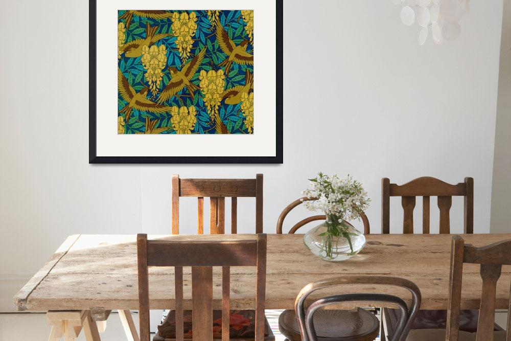 """""""Vintage Art Deco Birds and Leaves&quot  by Alleycatshirts"""