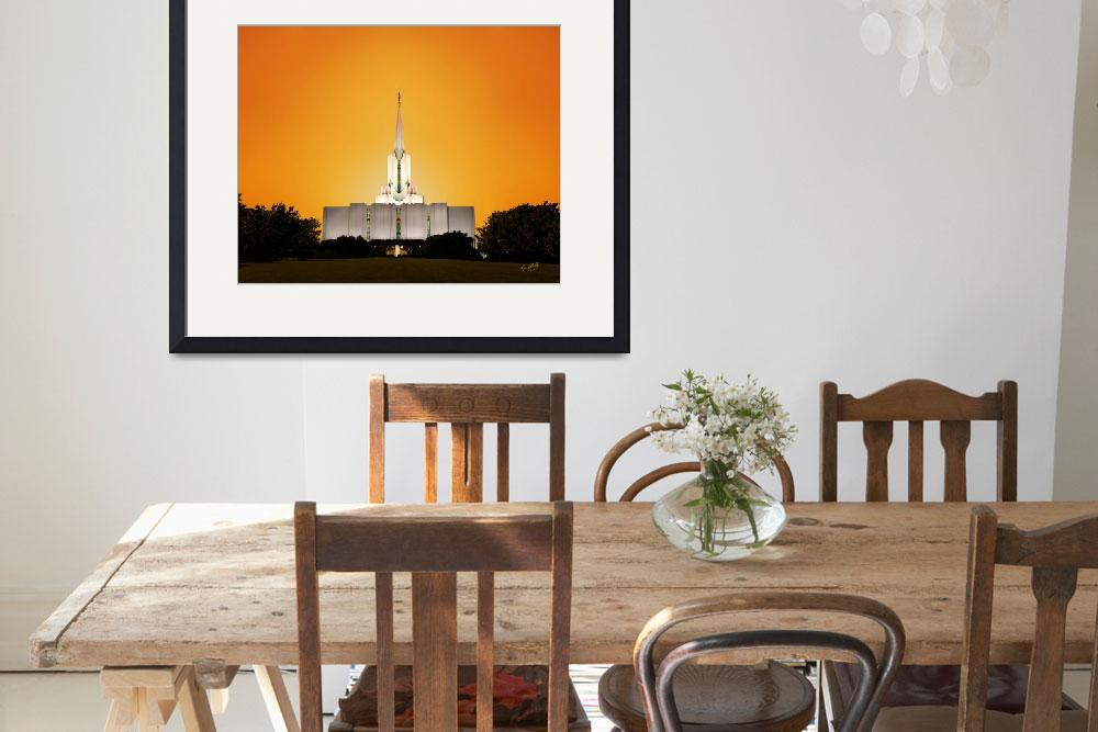 """""""20x24 Yellow Sunset Jordan River Temple&quot  by lightvoyages"""