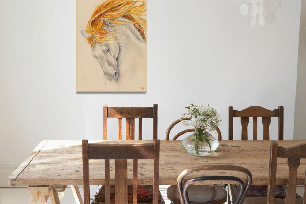 """""""Palomino Andalusian Horse""""  (2014) by artdeep"""
