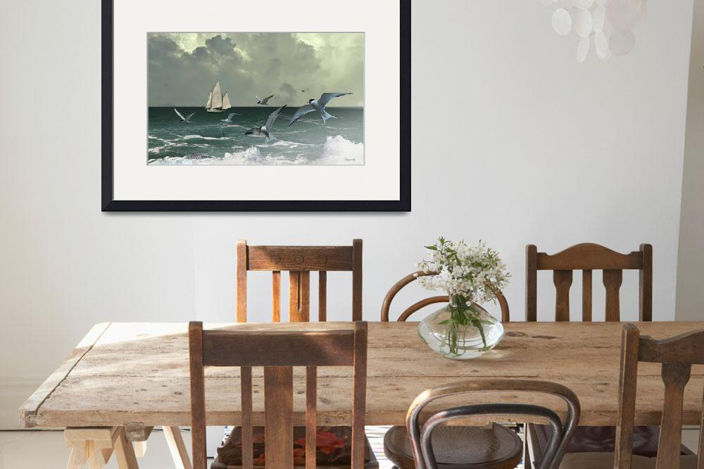 """""""Sailboat,Seabirds, and Surf&quot  (2017) by spadecaller"""