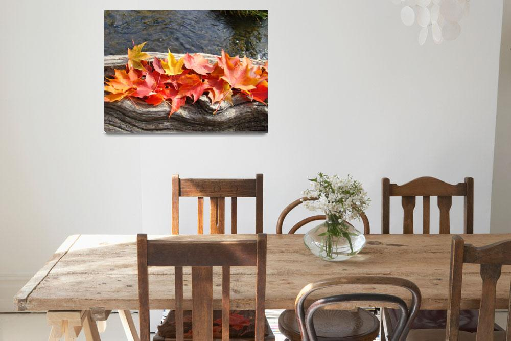 """""""Leaves art prints Autumn Tree Leaves Water Wood""""  (2010) by BasleeTroutman"""