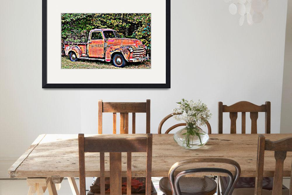 """""""Antique Chevy Truck Crossing The Color Line&quot  (2010) by crazysuncompany"""