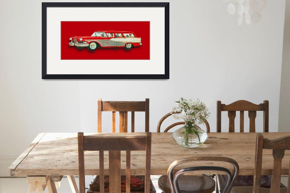 """Edsel Car Advertisement Wagon Red""  (2018) by RubinoFineArt"